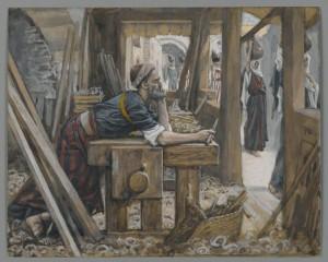 Saint Joseph in carpenter workshop