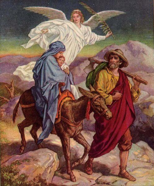 joseph and mary on the flight into egypt