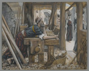 Saint Joseph in carpenter workshop